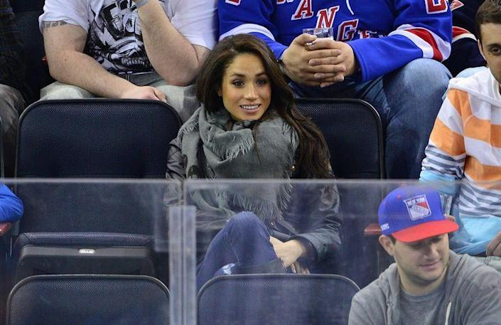 <p>Attending a New Jersey Devils/New York Rangers game at Madison Square Garden in 2013. </p>