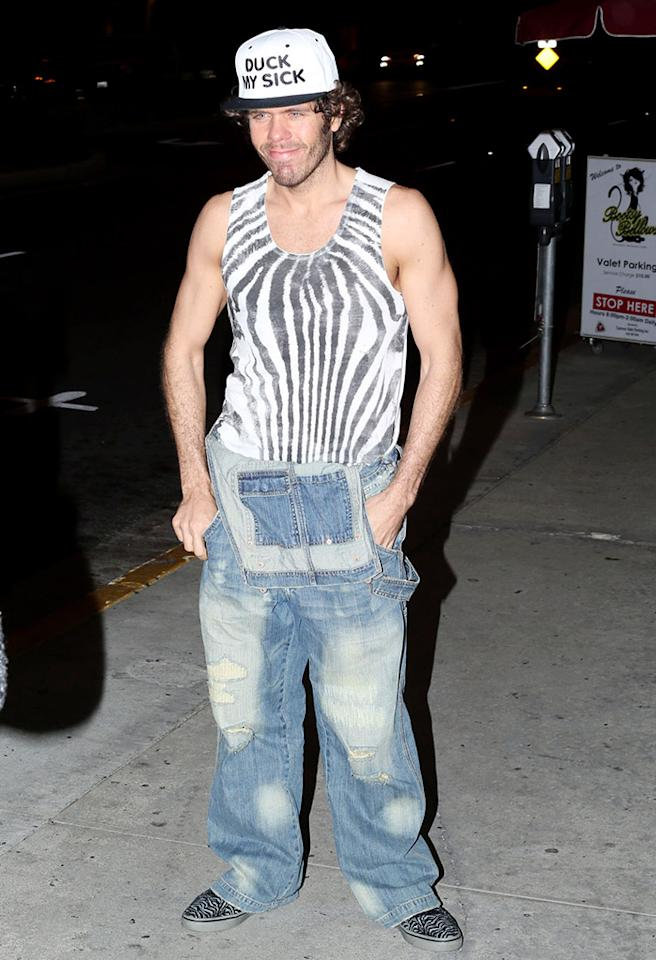 Perez Hilton is seen leaving Bootsy Bellows in West Hollywood