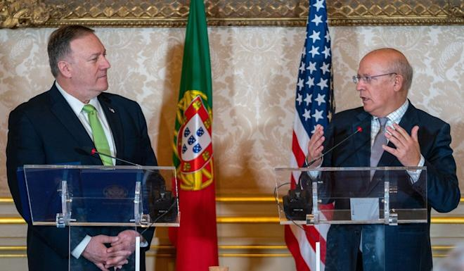 Portuguese Foreign Minister Augusto Santos Silva (right) at a press briefing with US Secretary of State Mike Pompeo in Lisbon last year. Photo: dpa
