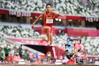 <p>Yaoqing Fang of Team China competes in the Men's Triple Jump Qualification on day eleven of the Tokyo 2020 Olympic Games at Olympic Stadium on August 03, 2021 in Tokyo, Japan. (Photo by Matthias Hangst/Getty Images)</p>