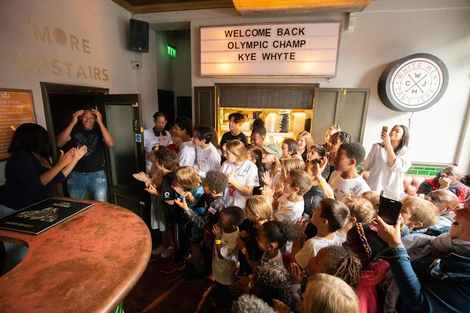 Kye Whyte received a hero's welcome at the Prince of Peckham Pub (James Manning/PA) (PA Wire)