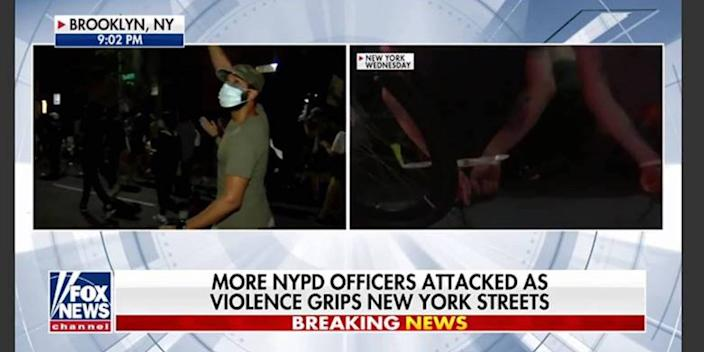 """In this segment from """"Hannity,"""" a live shot of the reporter (left), is juxtaposed with unrest from earlier in the week (right). A time stamp for that Wednesday can be seen in the corner."""