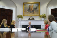 President Joe Biden speaks during a meeting with FEMA Administrator Deanne Criswell, second from left, and Homeland Security Adviser and Deputy National Security Adviser Elizabeth Sherwood-Randall, fourth from left, in the Roosevelt Room of the White House, Tuesday, June 22, 2021, in Washington. (AP Photo/Evan Vucci)