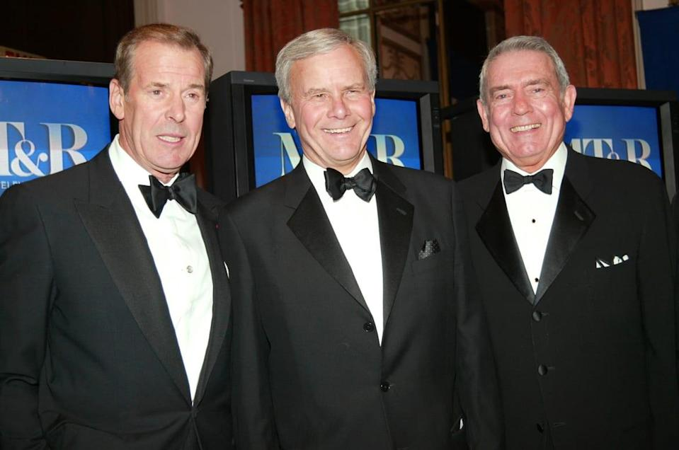 """<div class=""""inline-image__caption""""><p>ABC News anchor Peter Jennings, NBC News anchor Tom Brokaw and CBS News anchor Dan Rather attend The Museum of Television and Radio's annual gala, this year honoring NBC News anchor Tom Brokaw, on February 19, 2004, at the Waldorf-Astoria Hotel in New York City. </p></div> <div class=""""inline-image__credit"""">Evan Agostini/Getty</div>"""