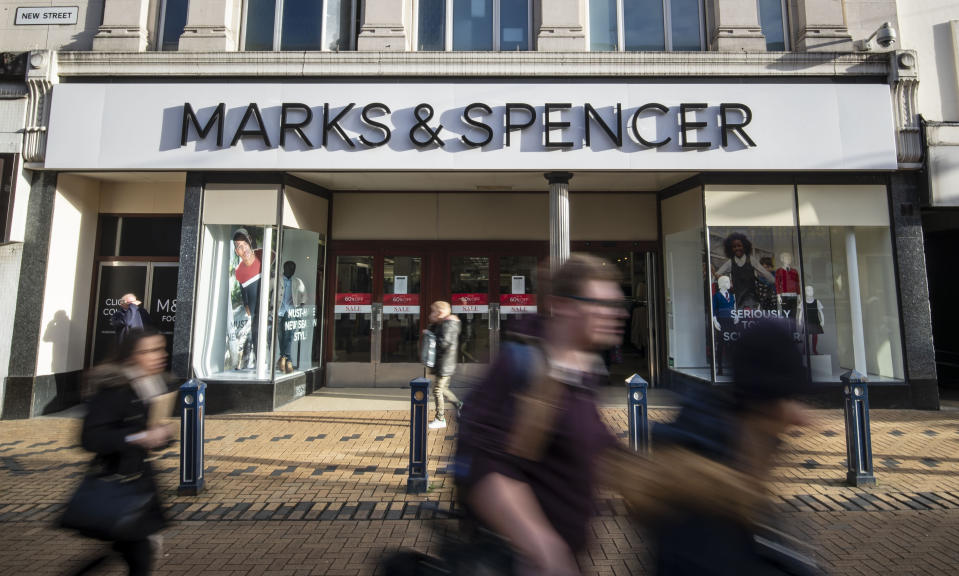 """File photo dated 15/01/19 of Marks & Spencer in Huddersfield, Yorkshire. The company has said it is rapidly pushing ahead with its turnaround plan after half-year sales slumped during a """"challenging"""" period for its clothing and homeware business."""