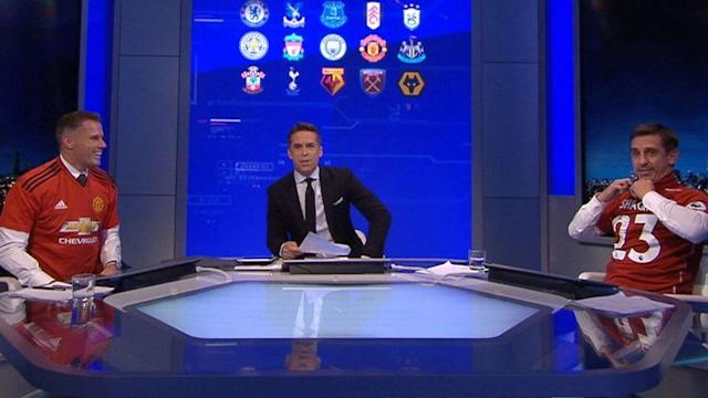 Monday Night Football was heated on Sky Sports as Carragher and Neville were forced to wear shirts of their hated rivals
