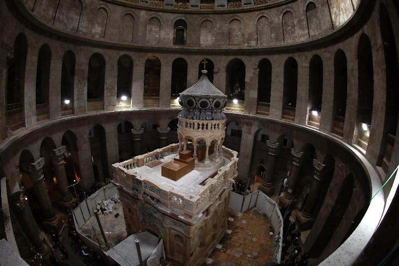 The Edicule in Jerusalem's Church of the Holy Sepulchre, pictured on March 20, 2017 after its restoration (AFP Photo/Gali TIBBON, Gali TIBBON)