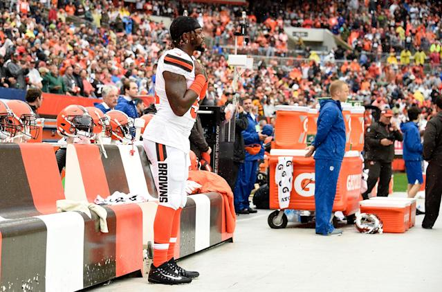 <p>Jamie Collins #51 of the Cleveland Browns stands by himself during the National Anthem prior to the game against the Pittsburgh Steelers at FirstEnergy Stadium on September 9, 2018 in Cleveland, Ohio. (Photo by Jason Miller/Getty Images) </p>