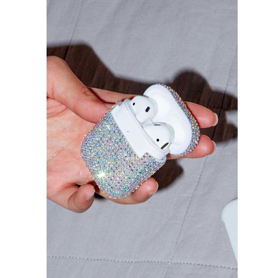 "The music junkie on your list can upgrade their tech collection with this decorative AirPods case, available in five unique finishes. $18, Urban Outfitters. <a href=""https://www.urbanoutfitters.com/shop/printed-hard-shell-airpods-case"">Get it now!</a>"