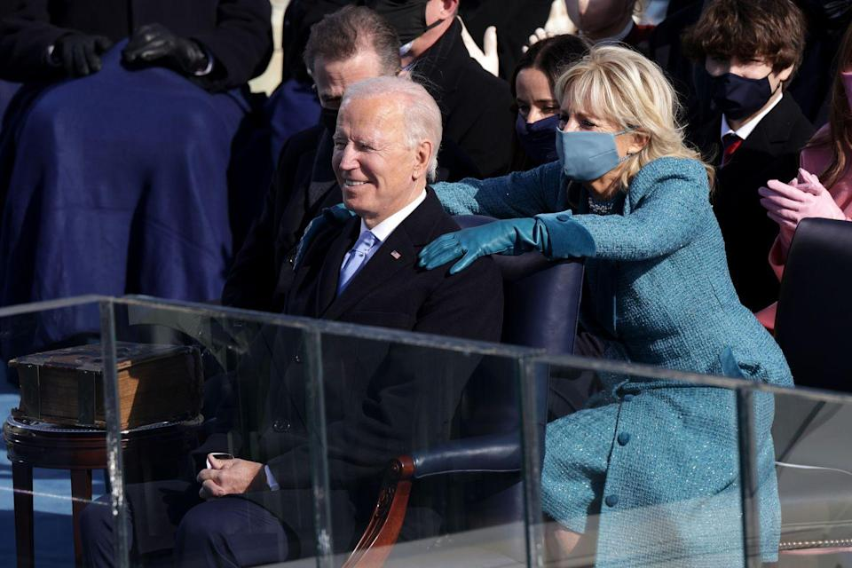 """<p>""""She never gives herself much credit, but the truth is she's the strongest person I know. She has a backbone like a ramrod. She loves fiercely, cares deeply. Nothing stops her when she sets her mind to getting something right,"""" he said, according to <a href=""""https://edition.cnn.com/politics/live-news/dnc-2020-day-2/index.html"""" rel=""""nofollow noopener"""" target=""""_blank"""" data-ylk=""""slk:CNN"""" class=""""link rapid-noclick-resp"""">CNN</a>.</p>"""