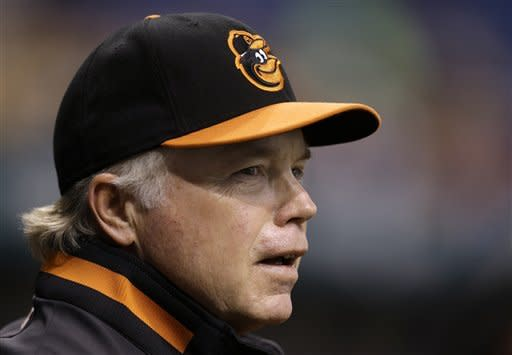 Baltimore Orioles manager Buck Showalter looks out of the dugout during the first inning of the Orioles' baseball game against the Tampa Bay Rays on Wednesday, Oct. 3, 2012, in St. Petersburg, Fla. (AP Photo/Chris O'Meara)