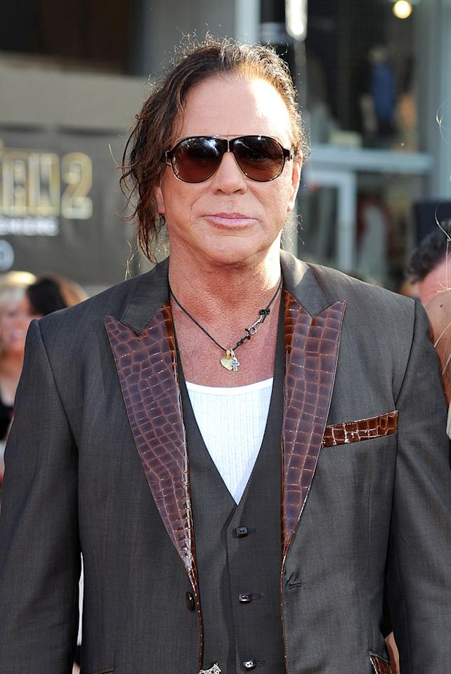 """<a href=""""http://movies.yahoo.com/movie/contributor/1800010853"""">Mickey Rourke</a> at the Los Angeles premiere of <a href=""""http://movies.yahoo.com/movie/1810026429/info"""">Iron Man 2</a> - 04/26/2010"""