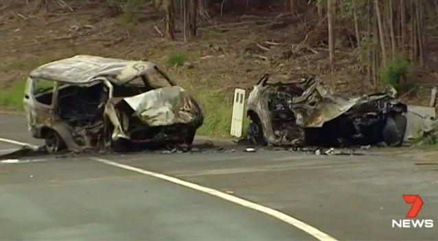Witnesses pulled the girls from the wreckage as the vehicles were engulfed in flames but their parents could not be saved.