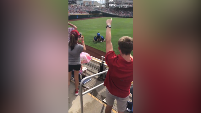 This pitch invader instantly regretted entering the field at a baseball game. Source: Twitter/ bpthrower8