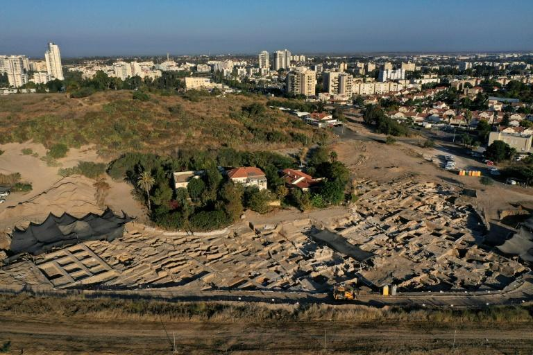The Tel Yavne excavation site, where a massive wine production facility was discovered, the largest known such complex of wine presses from the Byzantine era (AFP/MENAHEM KAHANA)