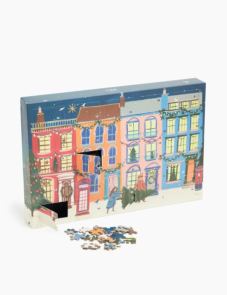 "<h3><a href=""https://www.marksandspencer.com/us/christmas-jewellery-advent-calendar/p/P60164365.html"" rel=""nofollow noopener"" target=""_blank"" data-ylk=""slk:Marks & Spencer Advent Jigsaw"" class=""link rapid-noclick-resp"">Marks & Spencer Advent Jigsaw</a></h3><br>This charming jigsaw puzzle advent calendar is the definition of delayed gratification; however, we've got a feeling that there's no better feeling than <em>finally</em> completing the wintery street scene on Christmas Day.<br><br><strong>Marks & Spencer</strong> Advent Jigsaw, $, available at <a href=""https://go.skimresources.com/?id=30283X879131&url=https%3A%2F%2Fwww.marksandspencer.com%2Fus%2Fadvent-jigsaw%2Fp%2F000000000060281648.html"" rel=""nofollow noopener"" target=""_blank"" data-ylk=""slk:Marks & Spencer"" class=""link rapid-noclick-resp"">Marks & Spencer</a>"