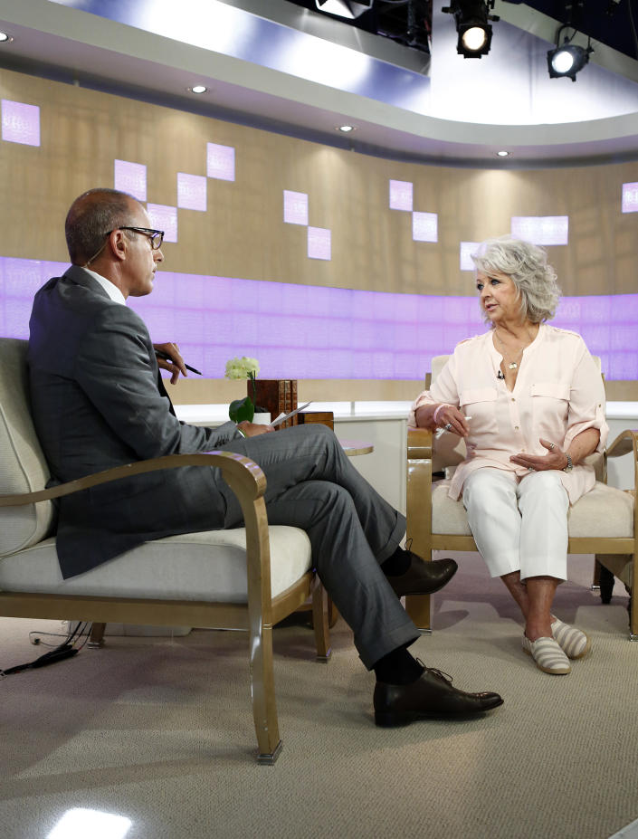 """In this publicity image released by NBC, celebrity chef Paula Deen, right, appears on NBC News' """"Today"""" show, with host Matt Lauer, Wednesday, June 26, 2013 in New York. Deen dissolved into tears during a """"Today"""" show interview Wednesday about her admission that she used a racial slur in the past. The celebrity chef, who had backed out of a """"Today"""" interview last Friday, said she was not a racist and was heartbroken by the controversy that began with her own deposition in a lawsuit. Deen has been dropped by the Food Network and as a celebrity endorser by Smithfield Foods. (AP Photo/NBC, Peter Kramer)"""