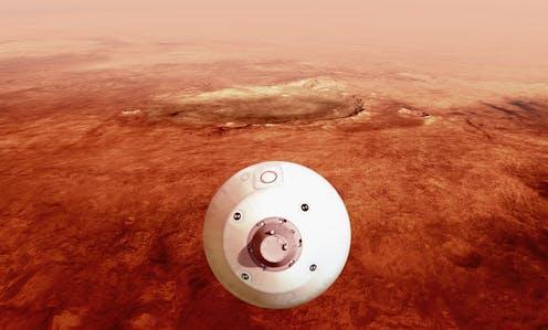 """<span class=""""caption"""">An artist's illustration of the aeroshell containing NASA's Perseverance rover guiding itself towards the surface of Mars.</span> <span class=""""attribution""""><a class=""""link rapid-noclick-resp"""" href=""""https://www.nasa.gov/image-feature/jpl/perseverance-guides-itself-towards-the-surface"""" rel=""""nofollow noopener"""" target=""""_blank"""" data-ylk=""""slk:NASA/JPL-Caltech"""">NASA/JPL-Caltech</a></span>"""