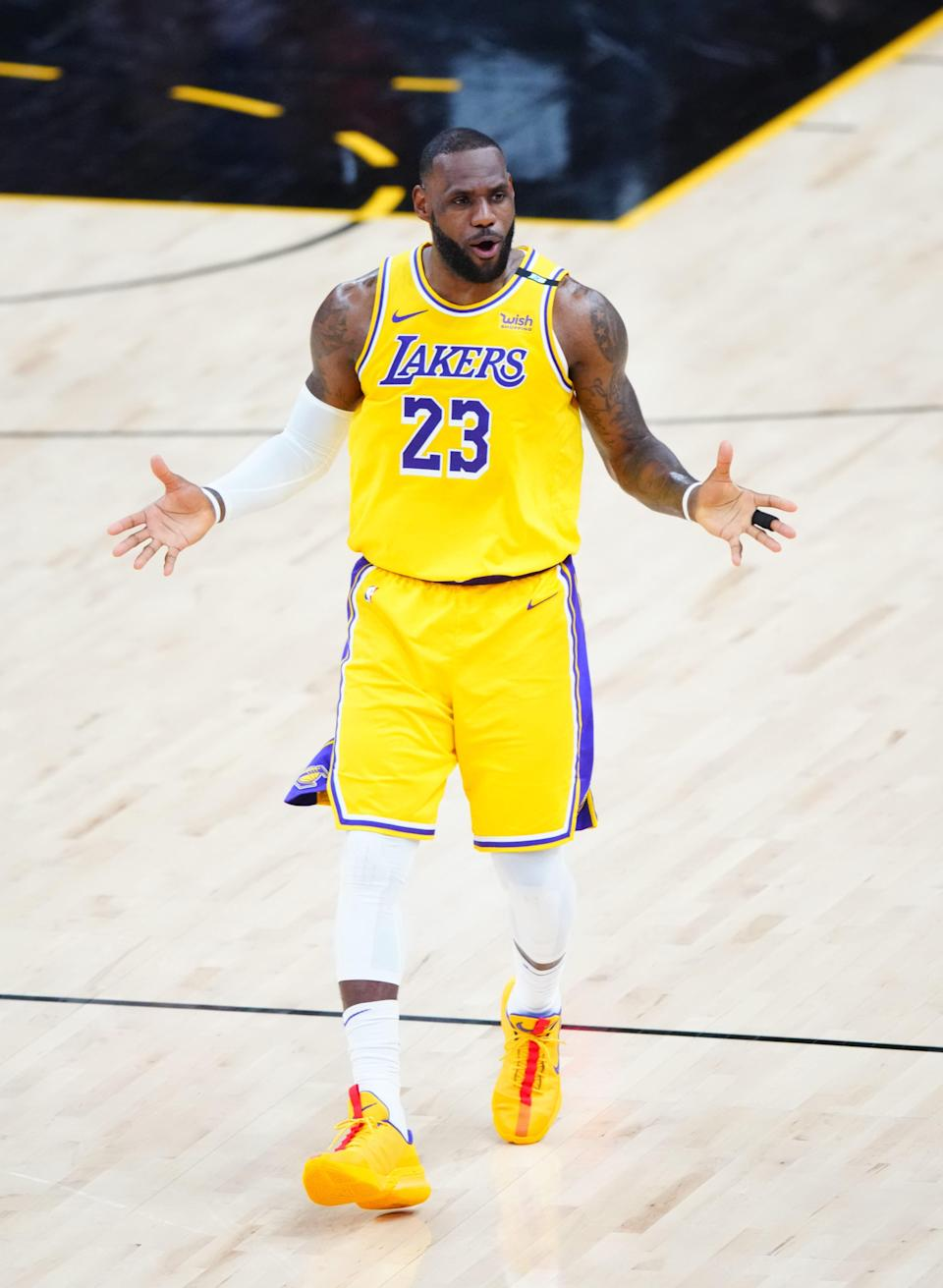 Los Angeles Lakers forward LeBron James reacts against the Phoenix Suns during his team's Game 5 loss.