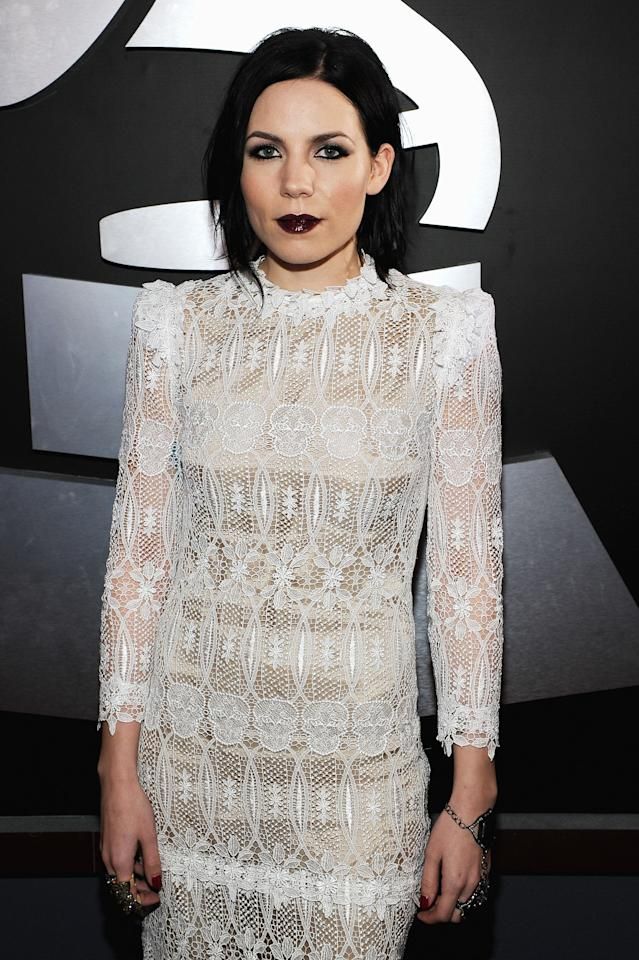 LOS ANGELES, CA - FEBRUARY 12:  Singer Skylar Grey arrives at the 54th Annual GRAMMY Awards held at Staples Center on February 12, 2012 in Los Angeles, California.  (Photo by Larry Busacca/Getty Images For The Recording Academy)
