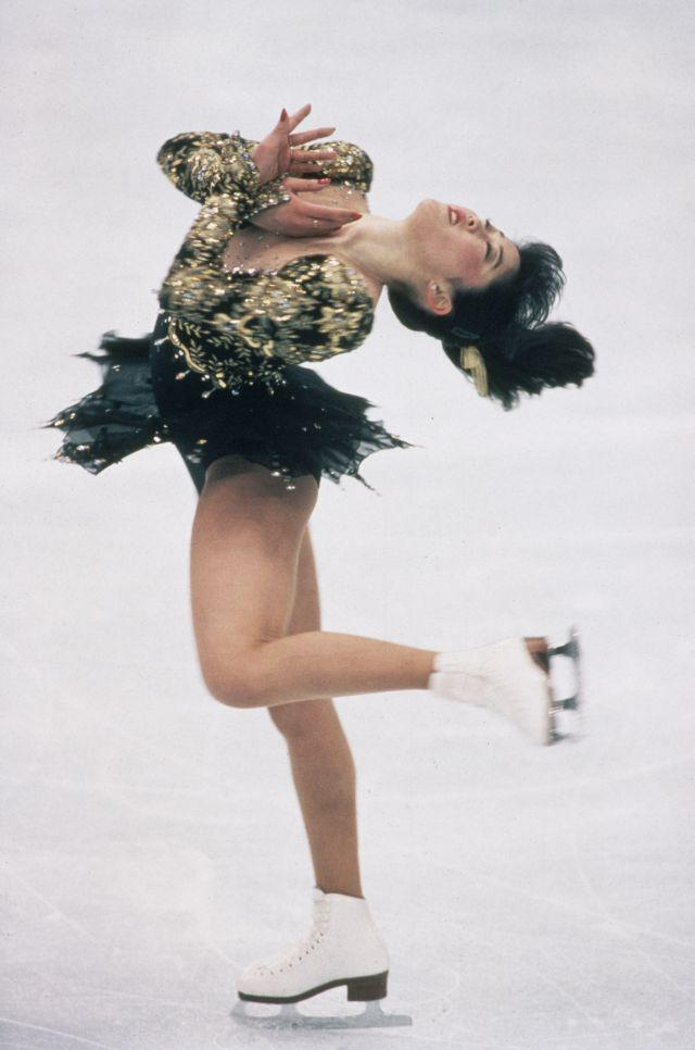 American figure skater Kristi Yamaguchi performing spiral spin during gold medal winning performance at 1992 winter Olympics. (Photo by Sergei Guneyev/The LIFE Images Collection/Getty Images)