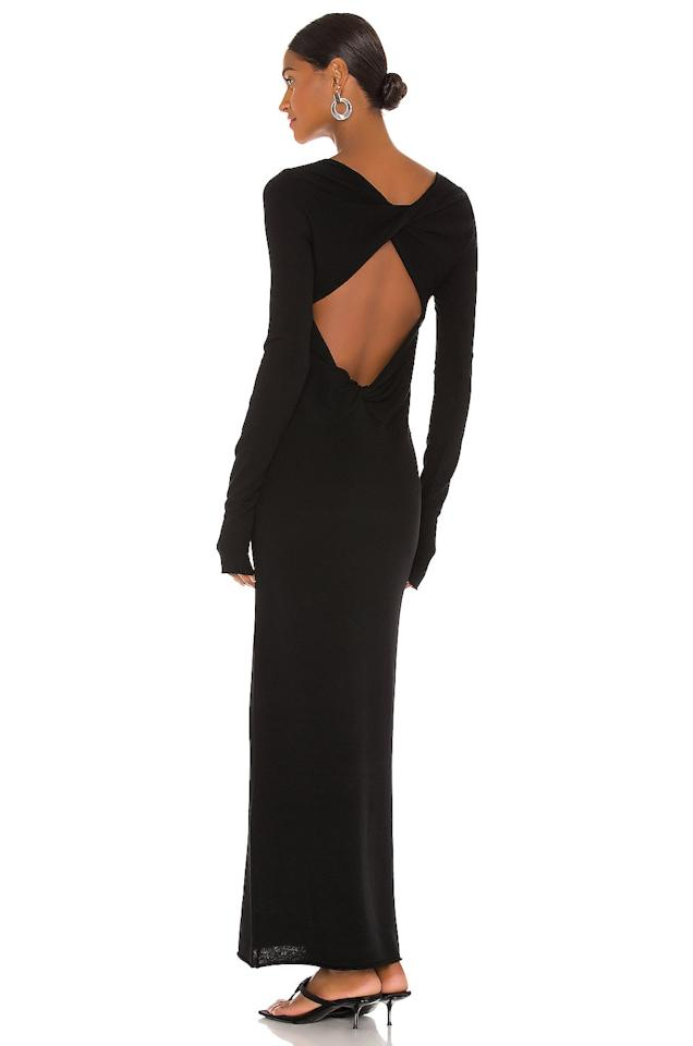 """<p>This <product href=""""https://www.revolve.com/helmut-lang-twist-dress/dp/HLNR-WD10/?d=Womens&amp;page=1&amp;lc=39&amp;itrownum=58&amp;itcurrpage=1&amp;itview=05"""" target=""""_blank"""" class=""""ga-track"""" data-ga-category=""""internal click"""" data-ga-label=""""https://www.revolve.com/helmut-lang-twist-dress/dp/HLNR-WD10/?d=Womens&amp;page=1&amp;lc=39&amp;itrownum=58&amp;itcurrpage=1&amp;itview=05"""" data-ga-action=""""body text link"""">Helmut Lang Twist Dress</product> ($380) brings the drama but is still comfortable enough to wear around the house.</p>"""