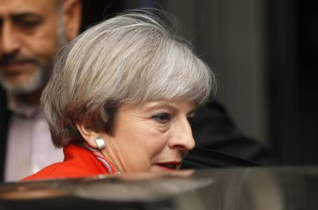 Britain's Prime Minister Theresa May leaves the BBC, in London, April 30, 2017. REUTERS/Peter Nicholls