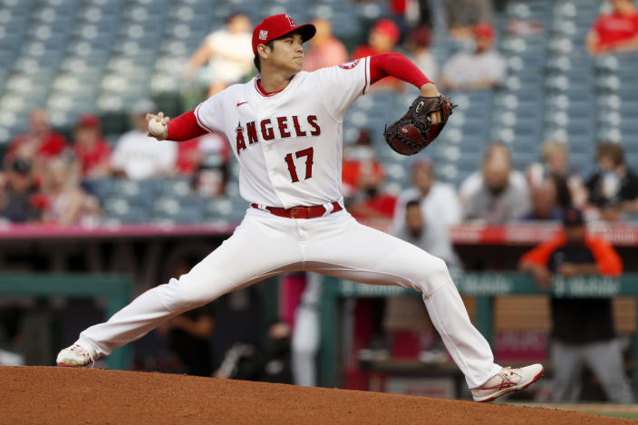 Los Angeles Angels starting pitcher Shohei Ohtani throws to a Detroit Tigers batter during the first inning of a baseball game in Anaheim, Calif., Thursday, June 17, 2021. (AP Photo/Alex Gallardo)