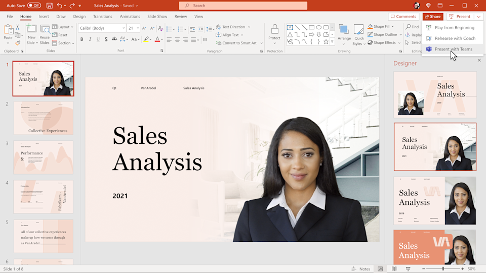 Cameo mode lets users stream their own video feed directly in PowerPoint, to provide more natural remote presentations. (Image: Microsoft)