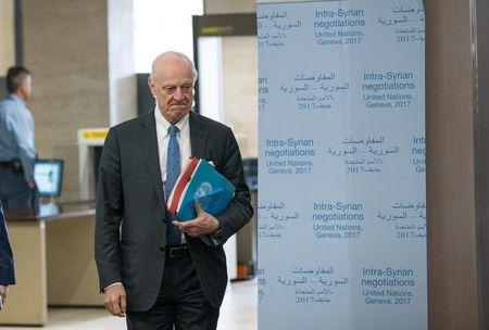 UN Special Envoy for Syria Staffan de Mistura arrives for a meeting of Intra-Syria peace talks with Syria's opposition delegation at Palais des Nations in Geneva