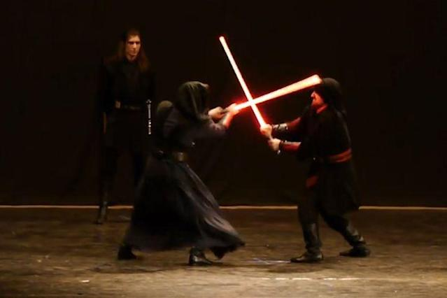 "<p>Star Wars fans worldwide are taking courses that combine various schools of fencing and martial arts to fight like Jedi knights.</p> <p><a href=""https://www.thesaberauthority.com/"" rel=""nofollow noopener"" target=""_blank"" data-ylk=""slk:The Saber Authority"" class=""link rapid-noclick-resp"">The Saber Authority</a>, <a href=""http://usa.ludosport.net/"" rel=""nofollow noopener"" target=""_blank"" data-ylk=""slk:LudoSport International"" class=""link rapid-noclick-resp"">LudoSport International</a>, and the <a href=""https://www.facebook.com/pg/saberfighting/about/"" rel=""nofollow noopener"" target=""_blank"" data-ylk=""slk:School of Saberfighting"" class=""link rapid-noclick-resp"">School of Saberfighting</a> are a few that offer classes.</p>"