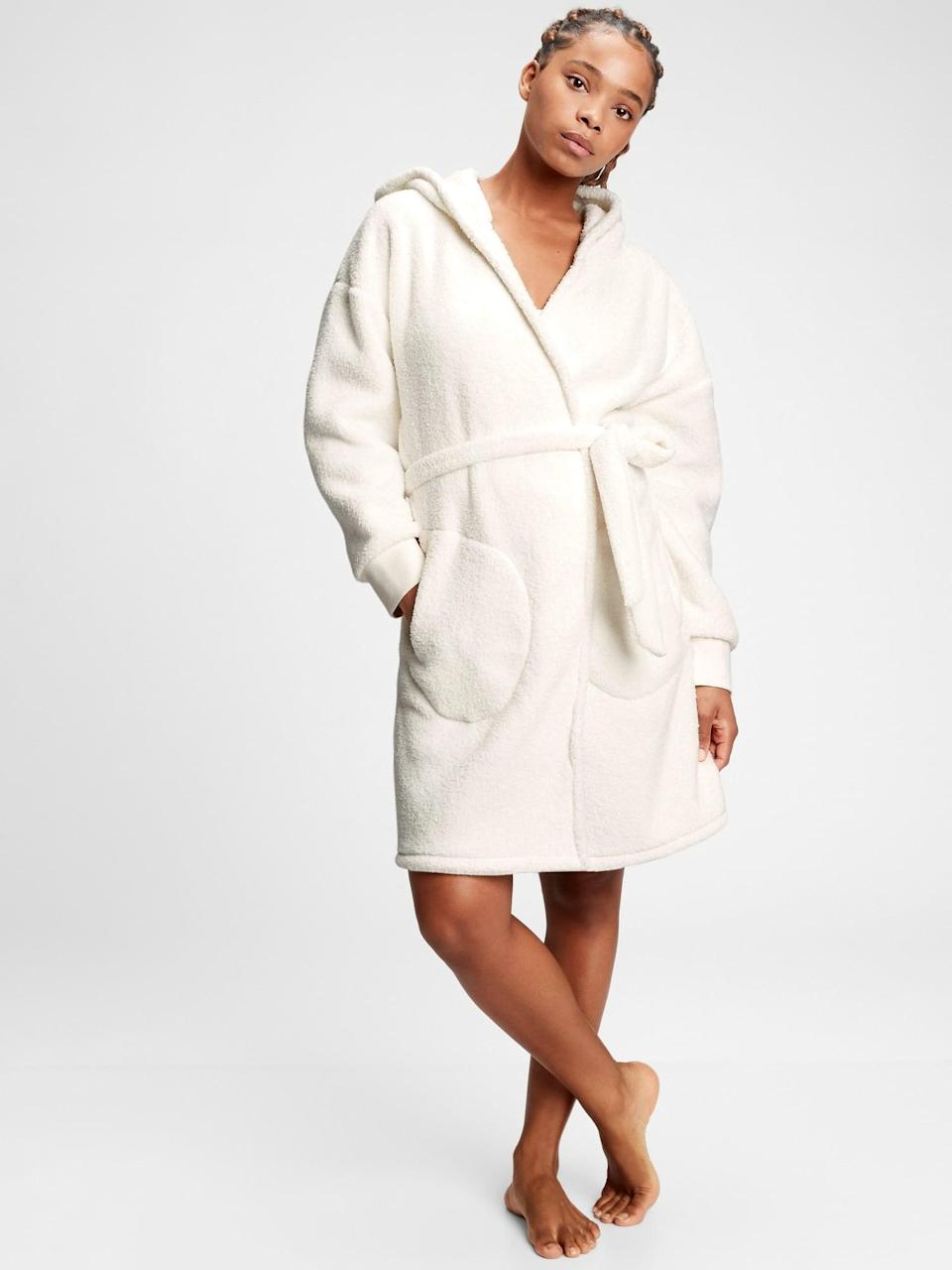 <p>They'll want to be all wrapped up in this <span>Gap Sherpa Robe</span> ($38, originally $70).</p>