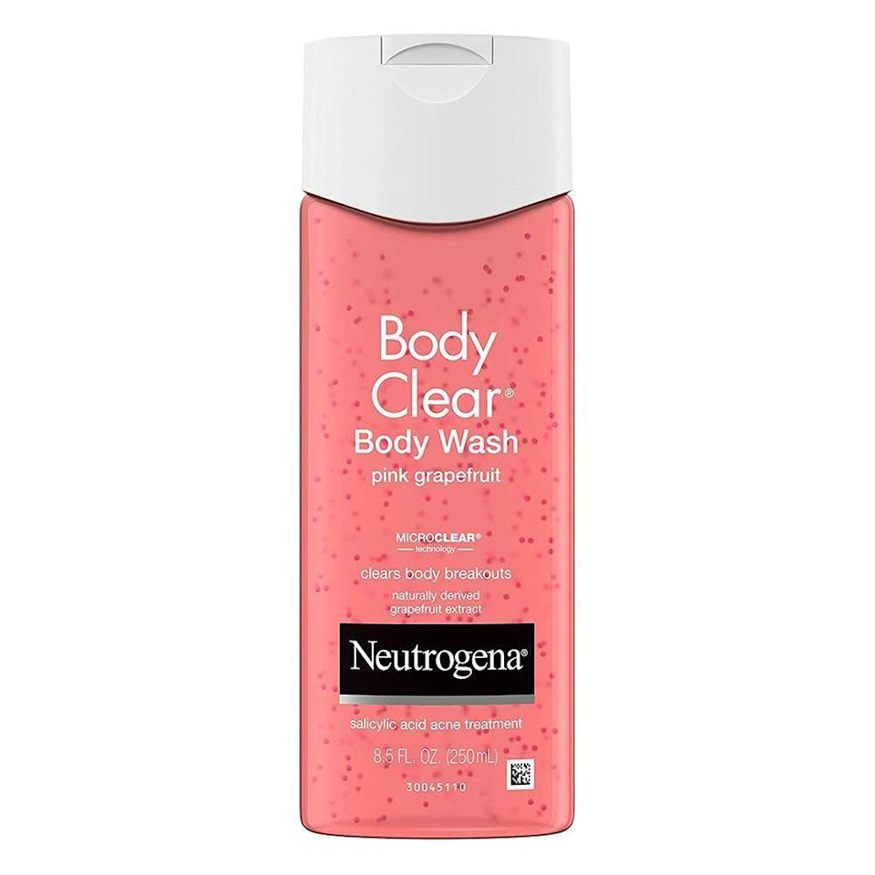 """<p><strong>Neutrogena</strong></p><p>ulta.com</p><p><strong>$9.99</strong></p><p><a href=""""https://go.redirectingat.com?id=74968X1596630&url=https%3A%2F%2Fwww.ulta.com%2Fpink-grapefruit-body-clear-body-wash%3FproductId%3DxlsImpprod670022&sref=https%3A%2F%2Fwww.bestproducts.com%2Fbeauty%2Fg22624901%2Fbutt-beauty-skincare-products%2F"""" rel=""""nofollow noopener"""" target=""""_blank"""" data-ylk=""""slk:Shop Now"""" class=""""link rapid-noclick-resp"""">Shop Now</a></p><p>Need a better booty on a budget? Truth be told, if it's safe for your facial skin, it's likely also safe for your butt. </p><p>In case you need further reassurance, this classic drugstore buy from Neutrogena is specifically designed for use on the body — your buttocks included — to battle breakouts. It's formulated with salicylic acid to both treat <em>and</em> prevent buttne.</p>"""