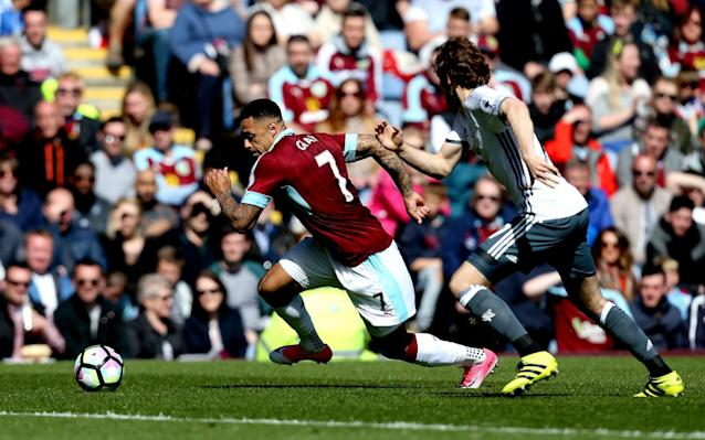 <span>Burnley's Andre Gray takes on Manchester United's Matteo Darmian</span> <span>Credit: REX </span>
