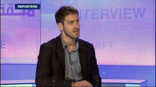 TV grab of French global television network France 24 of French journalist Romeo Langlois in 2010