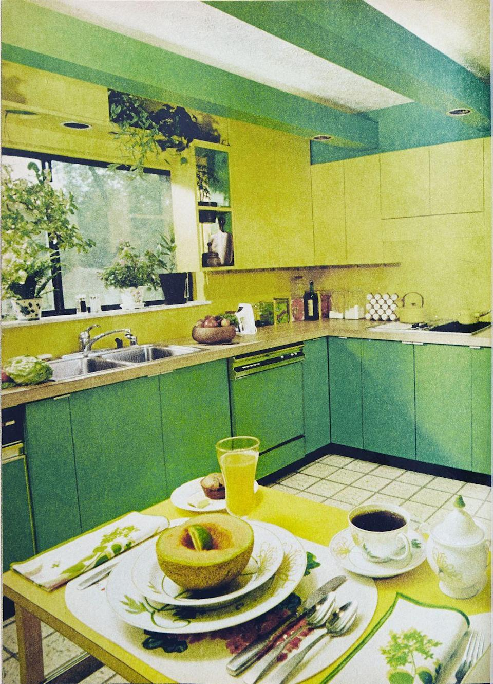 <p>Acid-hued Formica (the decade's most popular material) let homeowners get creative with their cabinets. Plain wood countertops created a cutting surface throughout the kitchen and gave a place for the eye to rest. The bold trend in color also shows how fashion often crossed over to interior design. </p>
