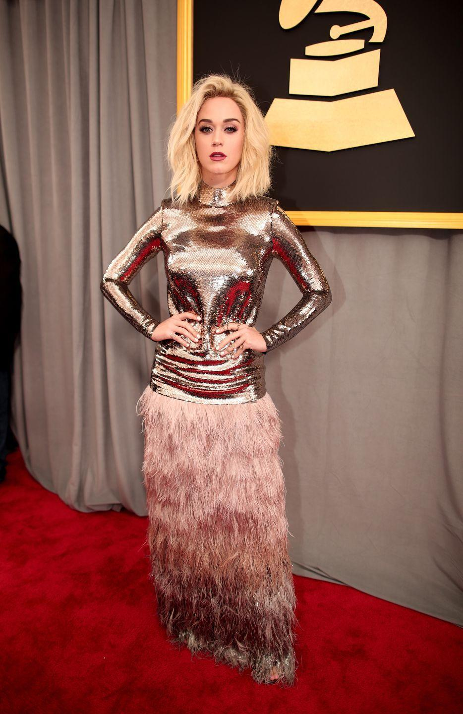 <p>Katy Perry attends The 59th GRAMMY Awards at STAPLES Center on February 12, 2017 in Los Angeles, California.</p>
