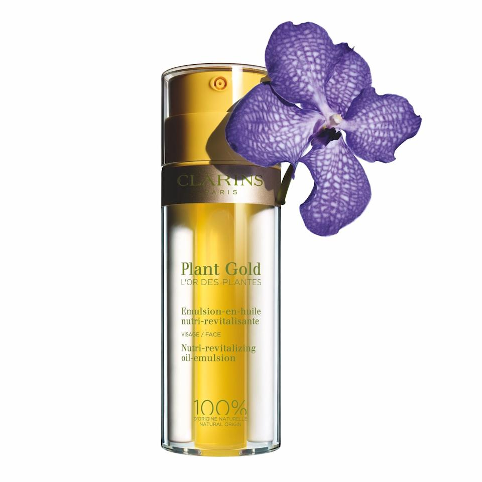 """<p>Just like gel is an efficacious alternative to cream moisturizers, so is an oil-emulsion combo like Clarins Plant Gold. This new lightweight and surprisingly non-oily formula promises — in addition to moisture — comfort, nutrition, vitality, and radiance through the inclusion of blue orchid extract and patchouli essential oil. Free of synthetic preservatives and fragrances, its aromatic nature is due entirely to botanical ingredients.</p> <p><strong>$59</strong> (<a href=""""https://shop-links.co/1682386175491662847"""" rel=""""nofollow"""">Shop Now</a>)</p>"""