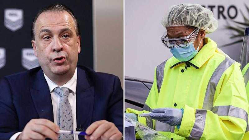 Pictured left, ARLC chairman Peter V'landys has reacted swiftly to the virus outbreak in Sydney.