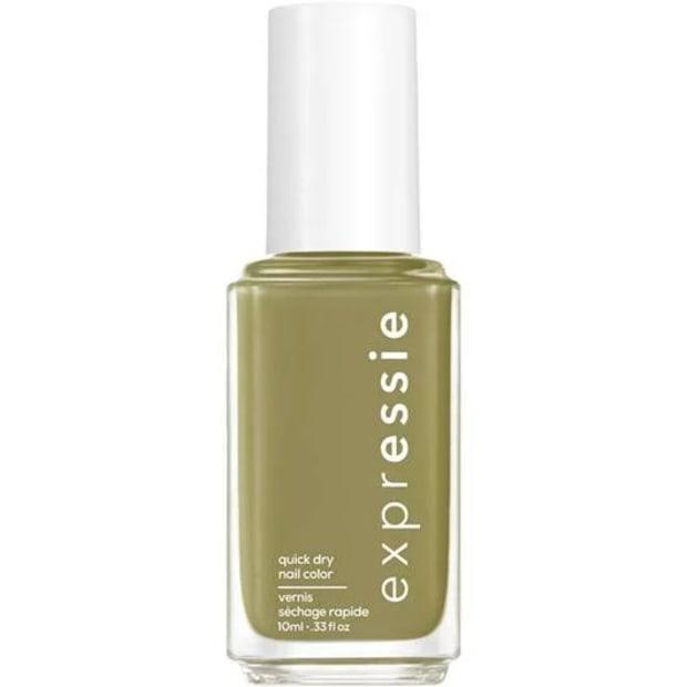 "<p><strong>Essie Expressie Quick-Dry Nail Polish in Precious Cargo-Go!, $9, <a href=""https://shop-links.co/1696771457985227752"" rel=""nofollow noopener"" target=""_blank"" data-ylk=""slk:available here"" class=""link rapid-noclick-resp"">available here</a>: </strong>""I love this dusty olive green color, and I love the fact that this formula dries in mere minutes even more."" —Stephanie Saltzman, Beauty Director</p>"