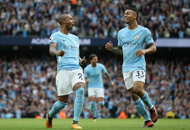 Fernandinho (left) and Gabriel Jesus both scored in Manchester City's 7-2 rout of Stoke City. (Getty)