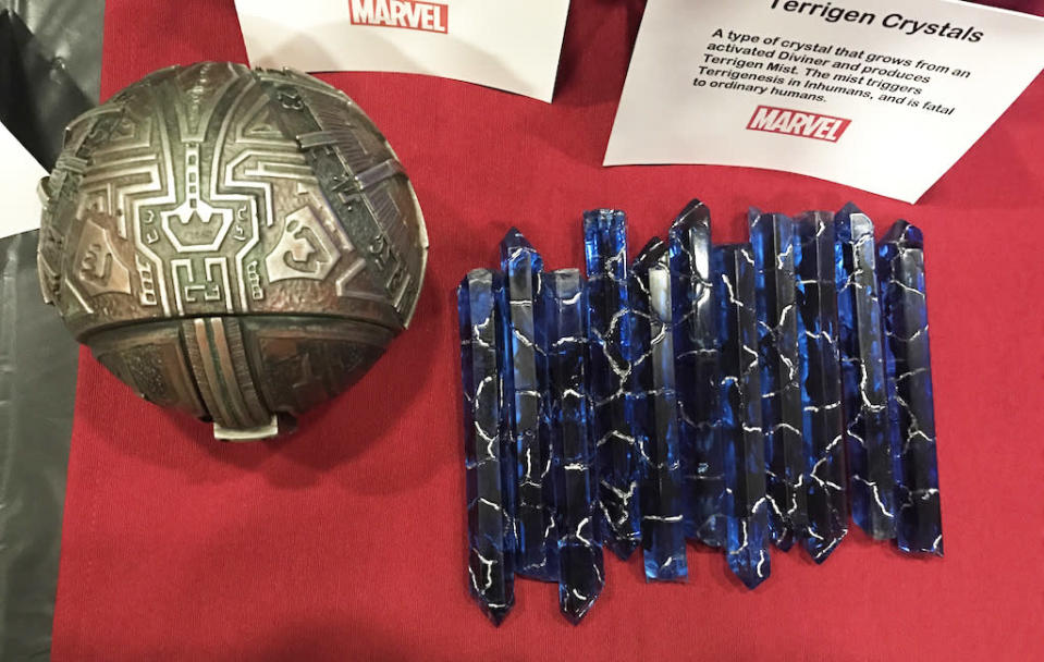 """<p><i>A type of crystal that grows from an activated Diviner and produces Terrigen Mist. The mist triggers Terrigenesis in Inhumans, and is fatal to ordinary humans.</i><br>The crystals are 3D-printed out of solid resin, then the """"wisps"""" are added inside.<br>(Credit: Yahoo TV) </p>"""