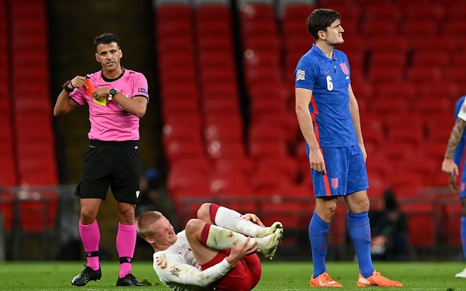 England's Harry Maguire is shown a red card for a foul on Denmark's Kasper Dolberg during the UEFA Nations League Group 2, League A match at Wembley Stadium, London - PA/Daniel Leal Olivas