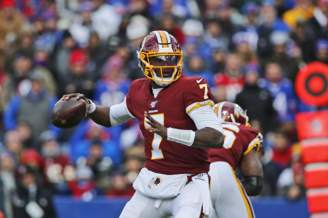 FILE - In this Nov. 3, 2019, file photo, Washington Redskins quarterback Dwayne Haskins looks to throw during the first half of an NFL football game against the Buffalo Bills, in Orchard Park, N.Y. The Redskins at the bye week of a lost season are a team without a definitive answer at quarterback, answers to questions on offense and defense and a visible organizational plan for the future. (AP Photo/John Munson, File)