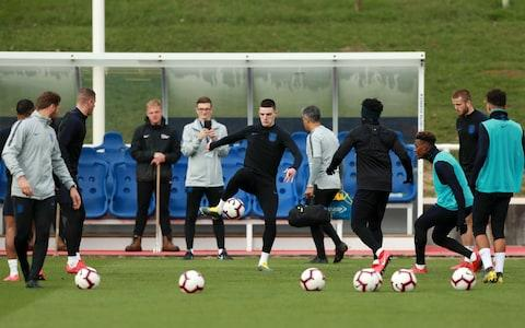 Declan Rice in England training action - Credit: Getty Images
