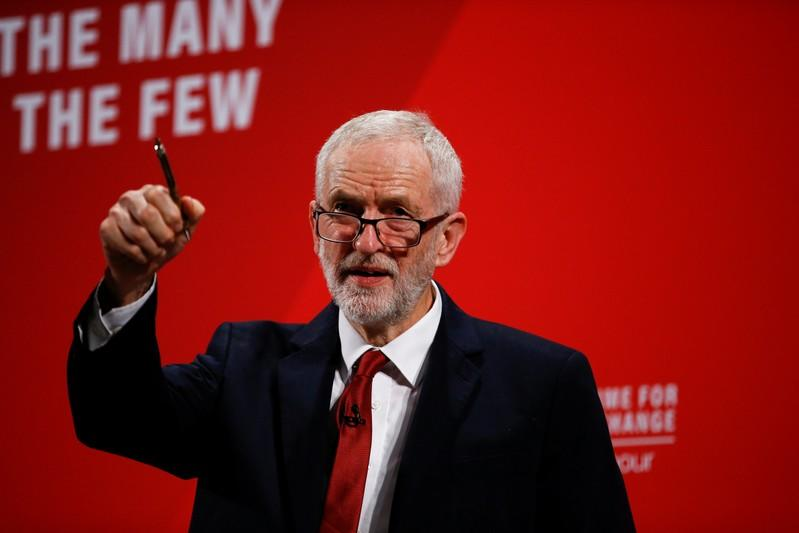 Britain's opposition Labour Party leader Jeremy Corbyn speaks at the Bernie Grant Arts Centre in London