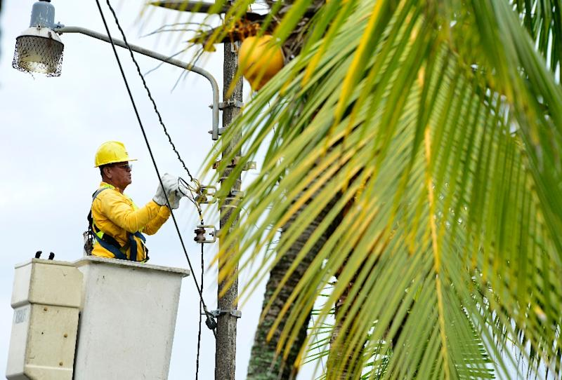 A worker repairs power lines damaged by strong winds before the arrival of Hurricane Otto in Limon, Costa Rica