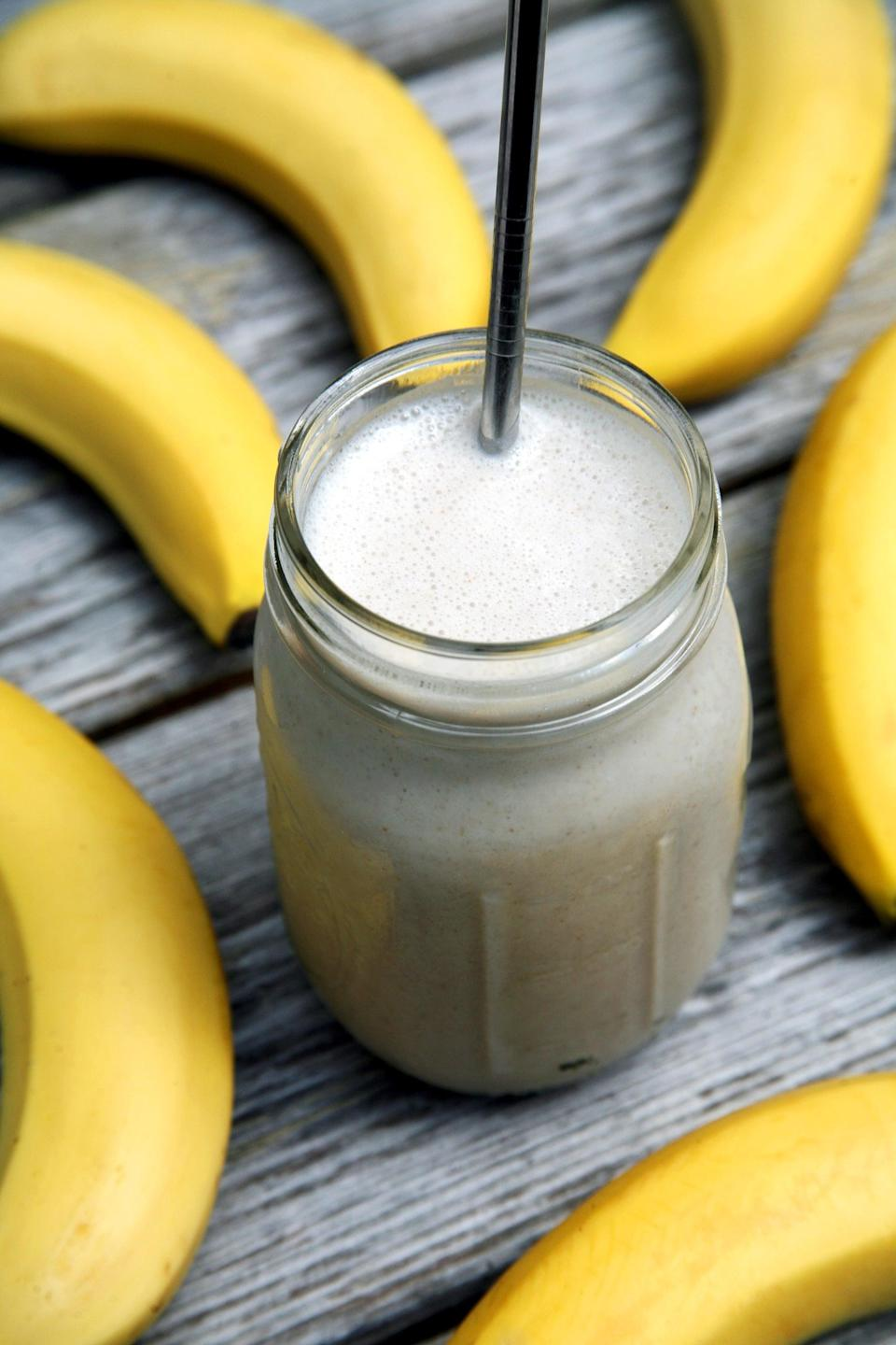 """<p>Creamy, smooth, subtly sweet, and high in protein, this banana milkshake smoothie offers over 20 grams of protein, but it's not made with protein powder or dairy products. </p> <p><strong>Get the recipe:</strong> <a href=""""https://www.popsugar.com/fitness/High-Protein-Smoothie-42297968"""" class=""""link rapid-noclick-resp"""" rel=""""nofollow noopener"""" target=""""_blank"""" data-ylk=""""slk:banana milkshake smoothie"""">banana milkshake smoothie</a></p>"""
