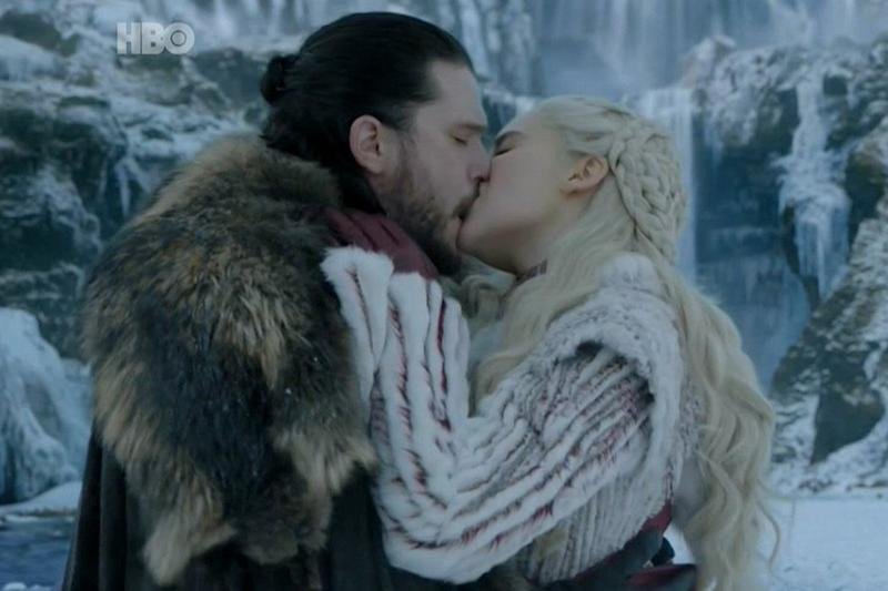 On-screen romance: Harington and Clarke's characters have fallen for each other (HBO)
