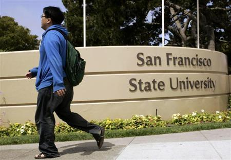 Student walks on the campus of San Francisco State University in San Francisco